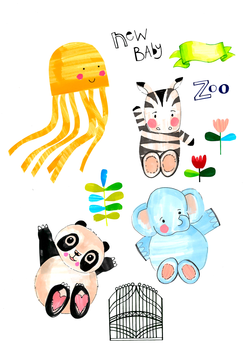 Baby-animal-illustrations-for-giftwrap-emmajayne-designs