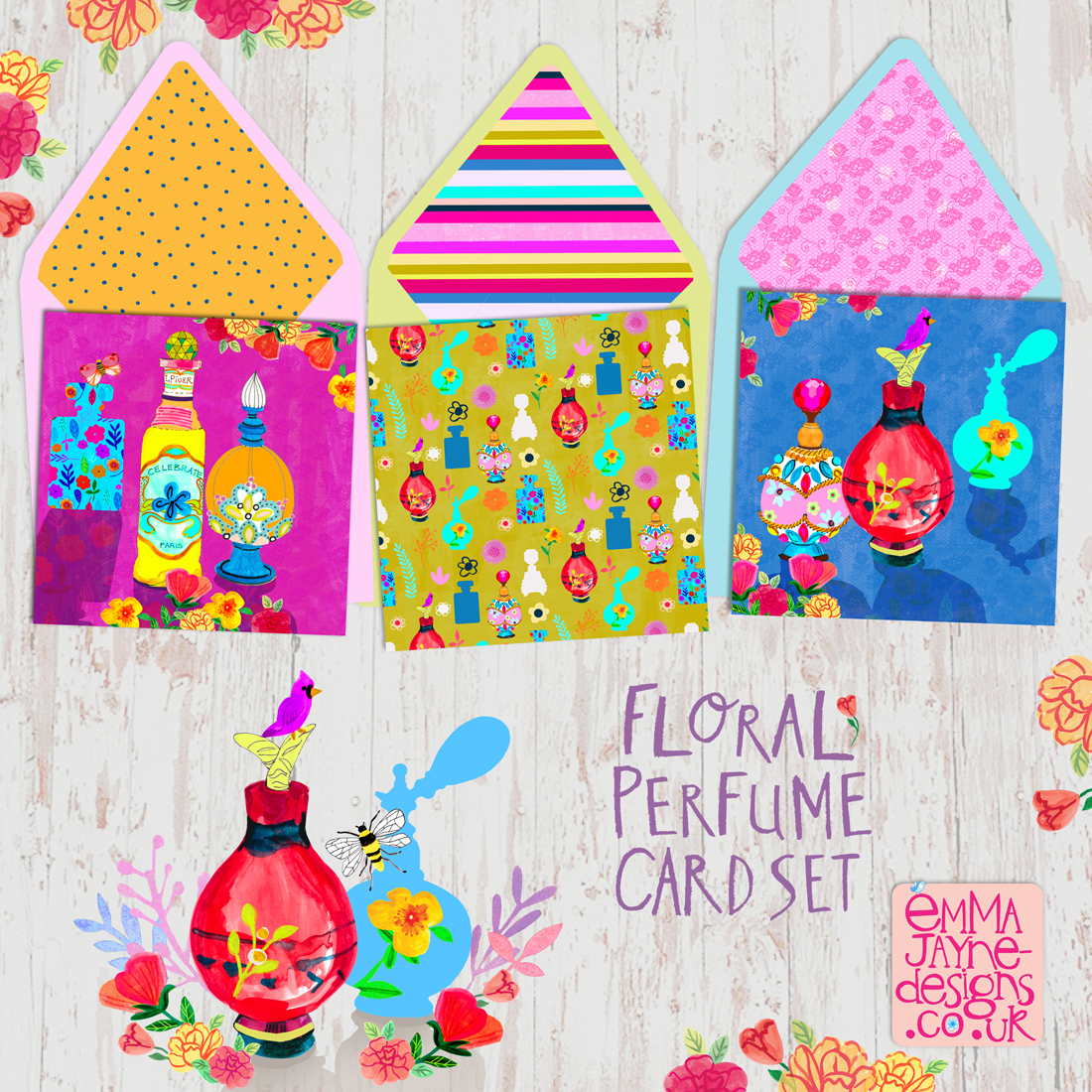 Colourful-floral-perfume-card-set-emmajayne-designs